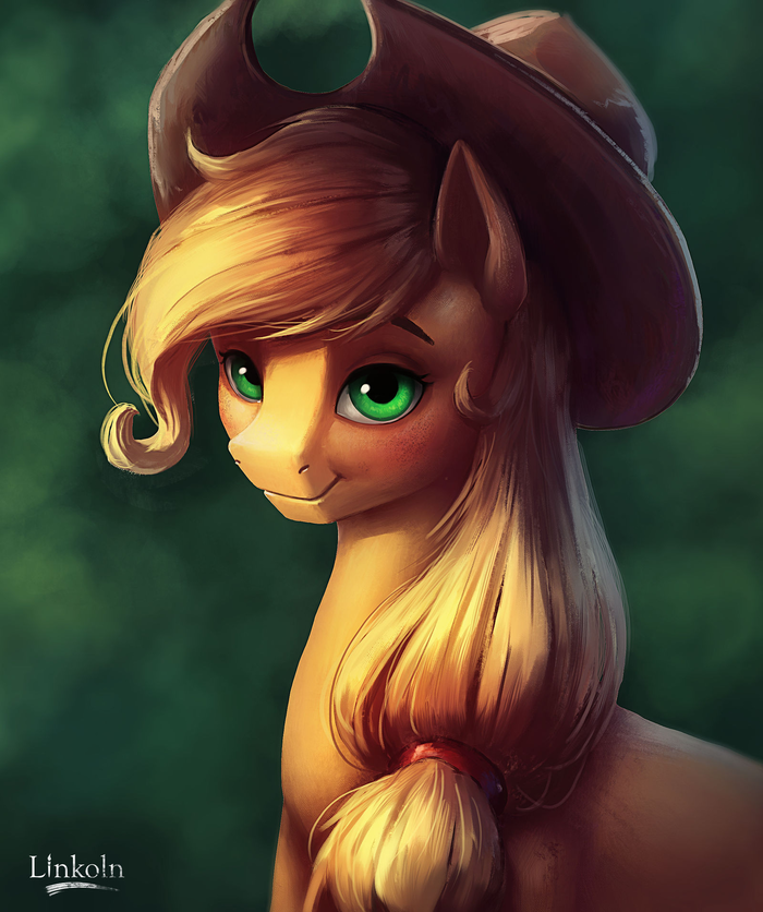 Applejack portrait My Little Pony, Applejack, Портрет, Портрет животных, L1nkoln