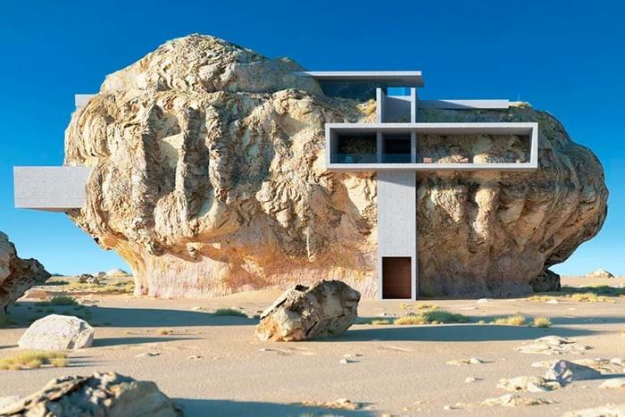 Дом внутри скалы в Саудовской Аравии