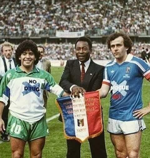 Марадона, Пеле и Платини, 1988 год.