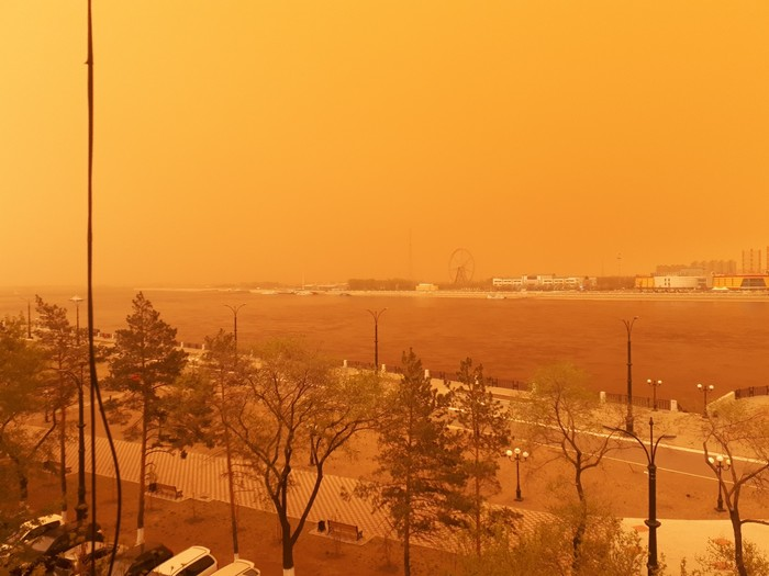 #nofilter ...А из нашего окна буря песчаная видна! Благовещенск, Китай, Песок, Буря, Длиннопост