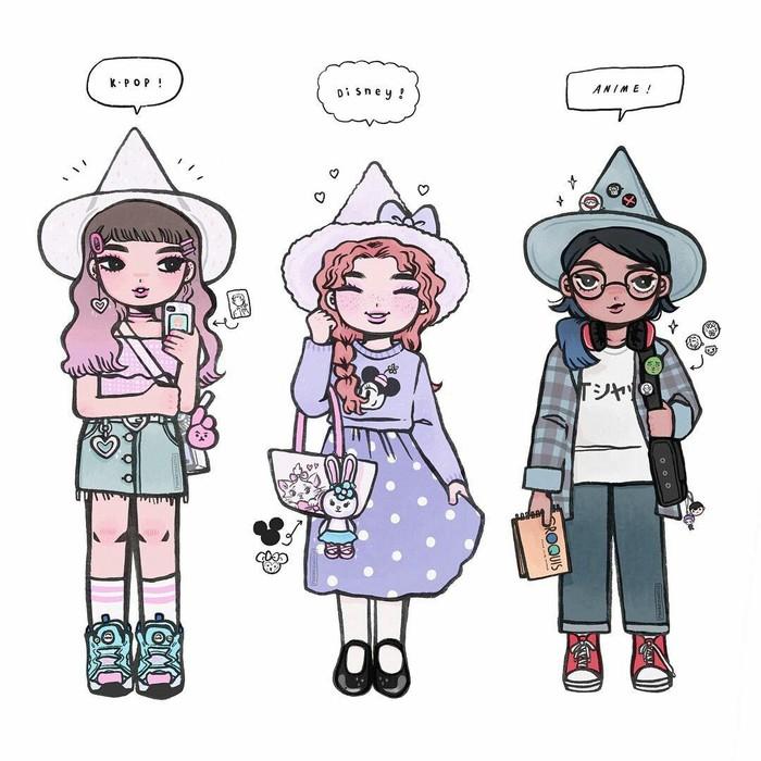 Девочки-припевочки Арт, Рисунок, Девушки, Разнообразие, Длиннопост