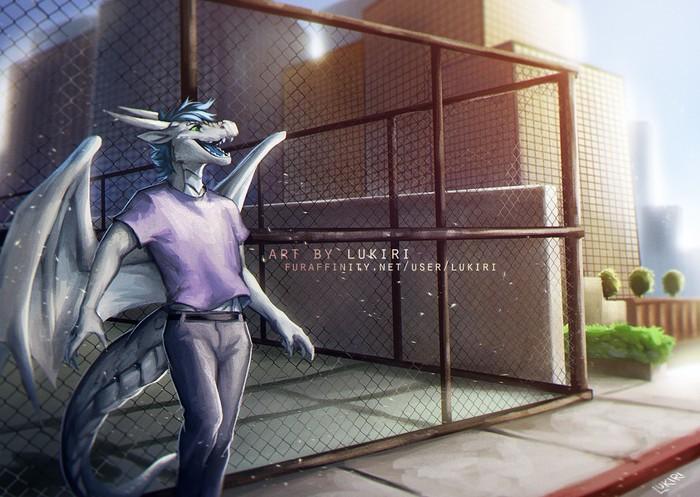 Sun and the City Фурри, Furry Art, Furry Dragon, Lukiri