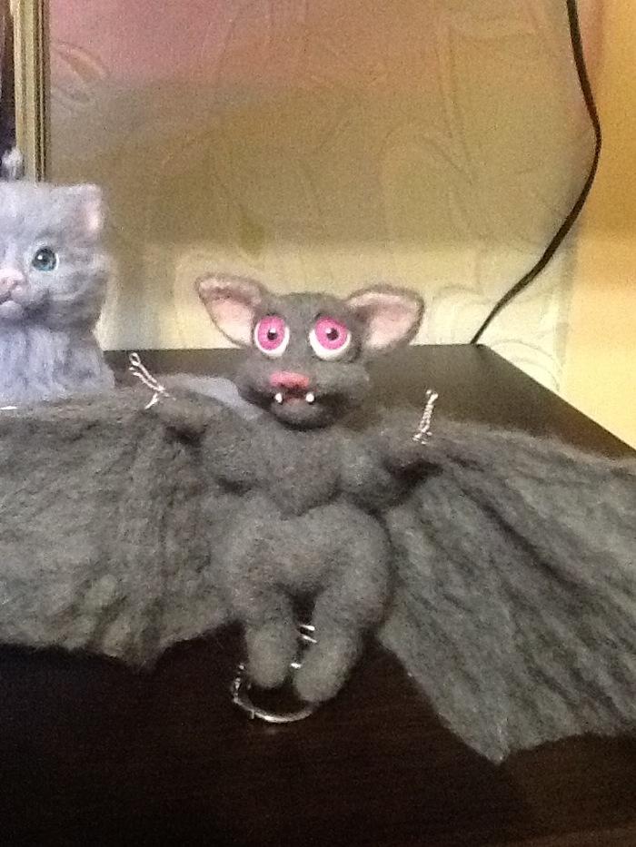 Прилетело =-O Летучая мышь, Сухое валяние, Рукоделие без процесса, Вампиренок, Мышка?, Длиннопост