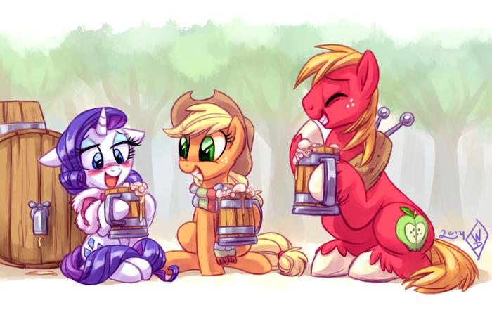 Знаешь, дорогуша, чем больше ты пьешь, тем вкуснее становится..! My Little Pony, Rarity, Applejack, Big Macintosh, Rarijack Daily