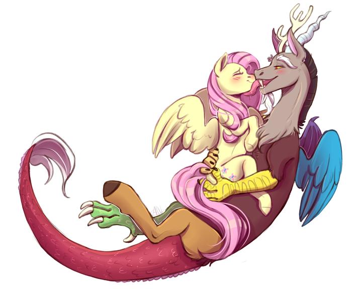 Fluttershy and Discord My Little Pony, MLP Discord, Fluttershy, Шиппинг, Лизь, Облизыватель, 1an1, MLP Edge