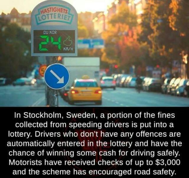 В Стокгольме, Швеция, часть штрафов  собранные с водителей за превышение скорости идут в лотерею Интересное, Reddit, Штраф, Швеция, Автомобилисты, Лотерея, Водитель, Познавательно