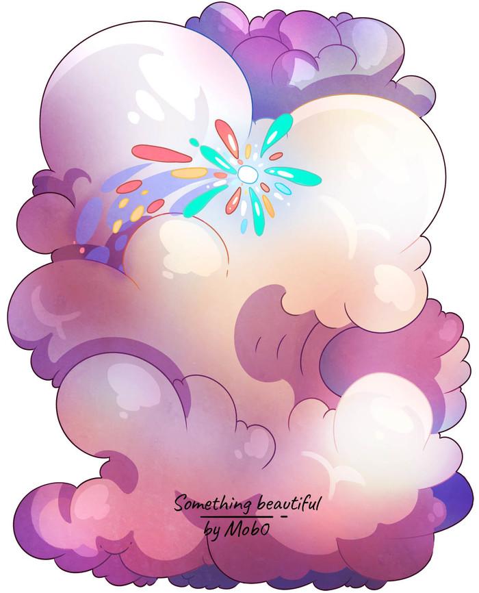 Сладкие облака - Спидпейнт Арт, Иллюстрации, Облака, Розовый, Speed painting, Mob0, Видео, Рисунок, Цифровой рисунок