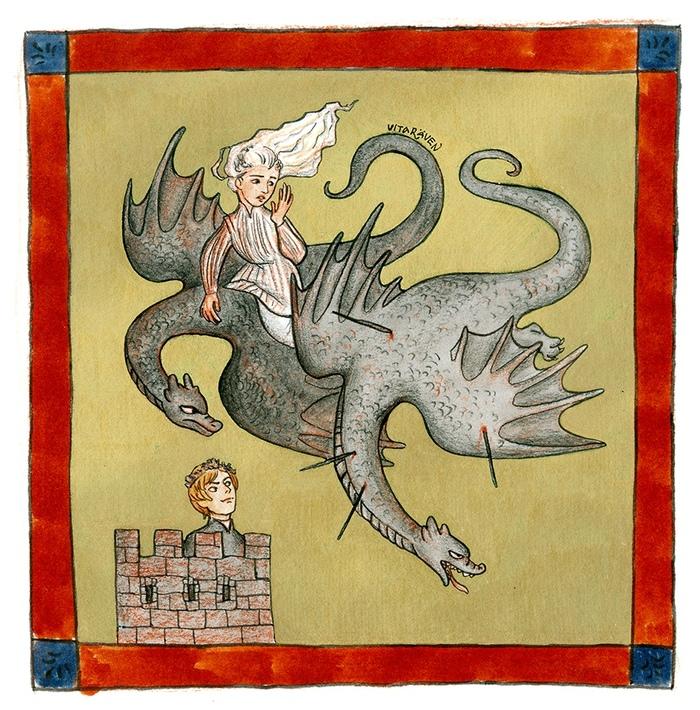 Страдающий Вестерос 3: гибель дракона Игра престолов, Дейенерис Таргариен, Серсея Ланнистер, Дракон, Средневековье, Прикол, Спойлер, Арт