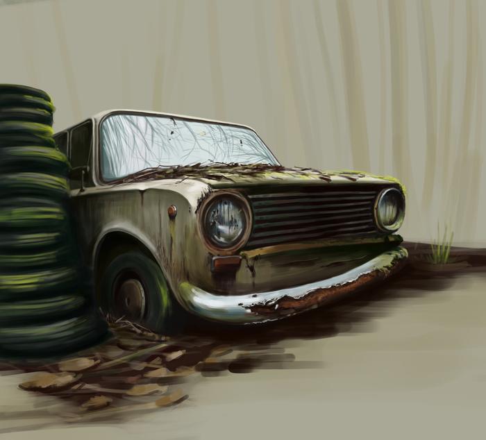 Заброшенная копейка Машина, Старое, Ржавчина, Заброшенное, Цифровой рисунок, Арт
