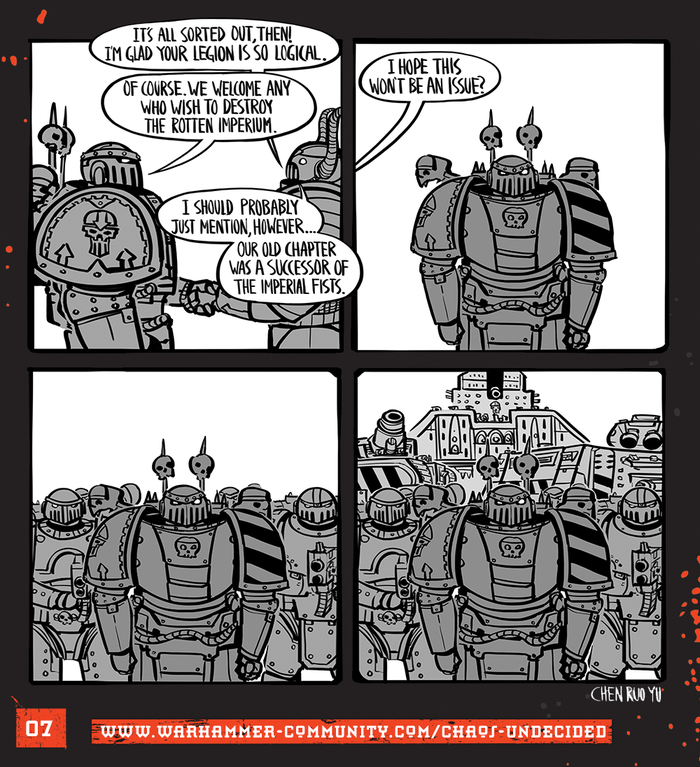 Хаос неопределённый #07 Warhammer 40k, Wh humor, Ruo Yu Chen, Комиксы, Chaos Space marines, Chaos-Undecided, Iron Warriors