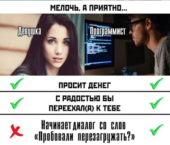 Разница между девушкой и программистом