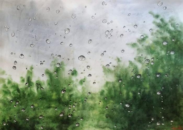 Летний дождь, акварель 60*84см