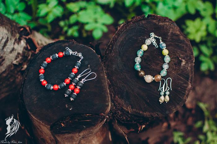 Комплекты из камней и полимерной глины Ручная работа, Полимерная глина, Натуральные камни, Комплект, Nika_kiss, Длиннопост