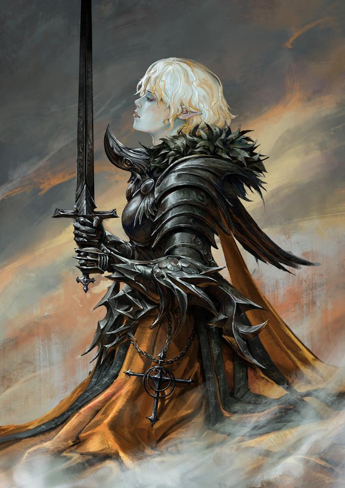 Elf Crusader Арт, Рисунок, Фэнтези, Эльфийка, Доспехи, Mumu MEI