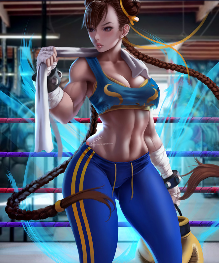 Chun-Li Hlulani, Арт, Крепкая девушка, Street Fighter, Chun-Li