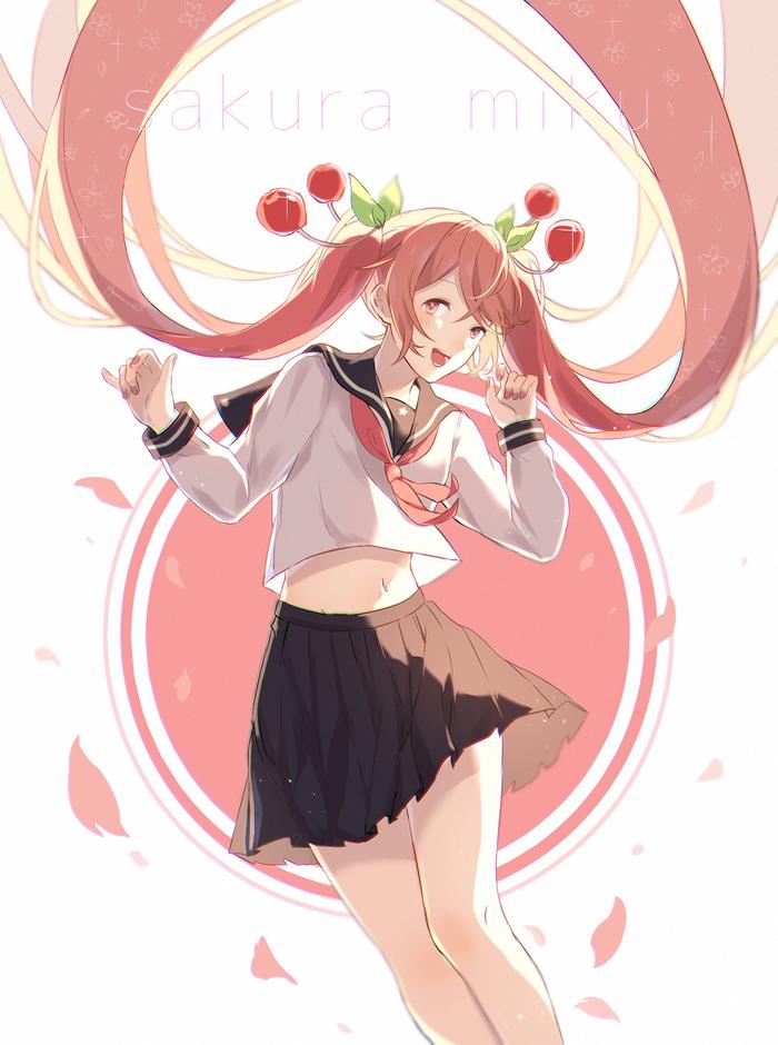 Мику Anime Art, Аниме, Hatsune Miku, Miku Sakura, Vocaloid, Школьная форма