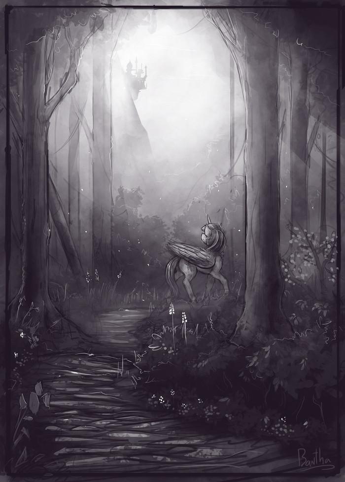 Familiar Paths My Little Pony, Twilight Sparkle, Монохром, Серый, Лес, Тропинка, Banthatic