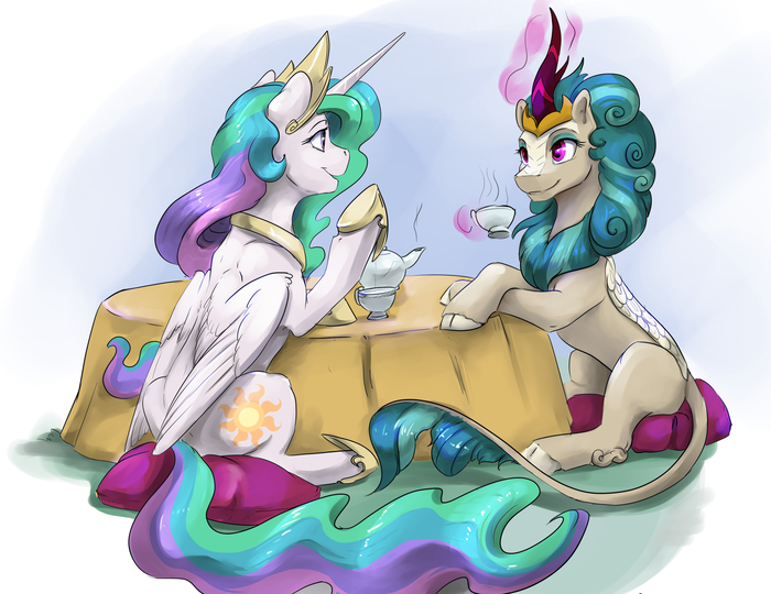 Diplomacy My Little Pony, Princess Celestia, Rain Shine, MLP Kirin, Silfoe
