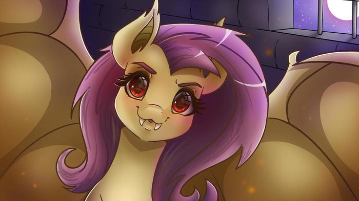 """Добрый вечер"". My Little Pony, Fluttershy, Flutterbat, Wooxx"