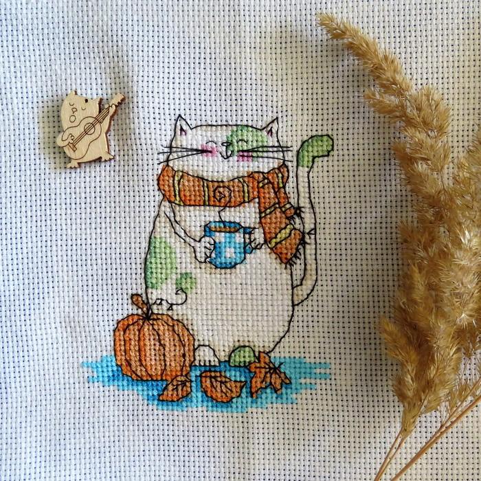 Я ещё и крестиком вышивать могу... муррр.. Рукоделие без процесса, Рукоделие, Вышивка, Вышивка крестом, Кот, Осень