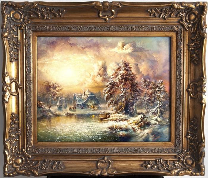 Дом у озера Картина маслом, Живопись, Арт, Пейзаж, Природа, Озеро, Жанровая картина, Картина