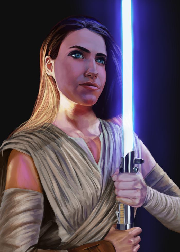 Star Wars fan Портрет, Арт, Цифровой рисунок, Красивая девушка, Star Wars, Меч