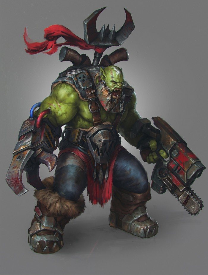 WarBoss. Арт, Фан-Арт, Орки, Warhammer 40k, Waaagh!, Wh Art, Denys Tsiperko, Картинки