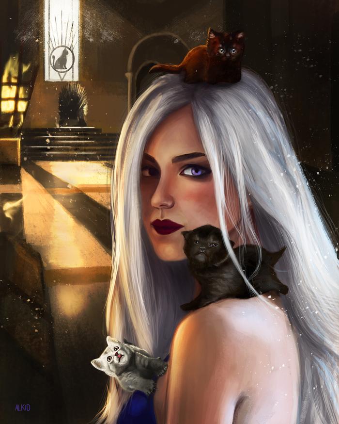 """Игра котят"" Портрет, Рисунок, Цифровой рисунок, Девушки, Кот, Котята, Пародия, Игра престолов"
