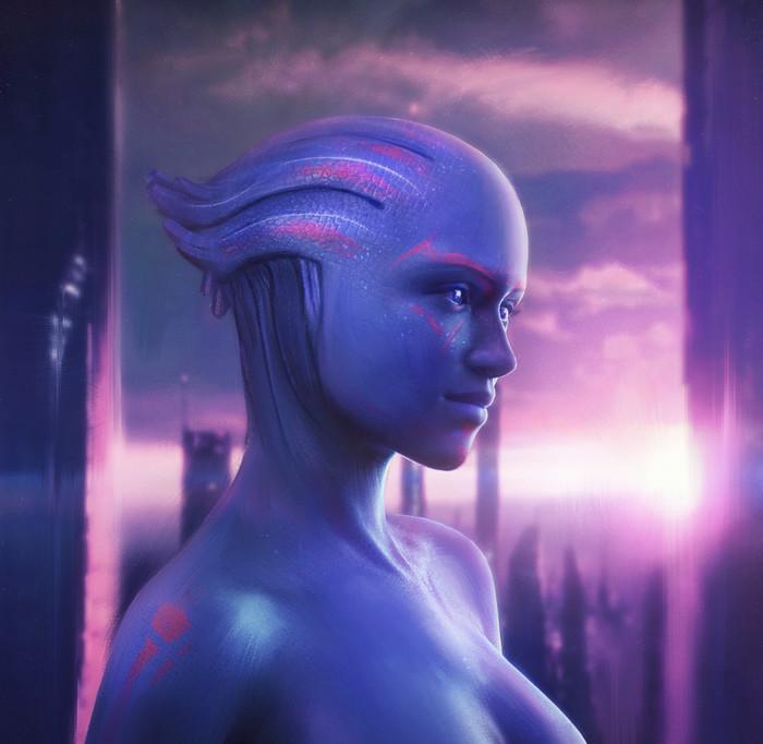 Asari. Арт, Фан-Арт, Картинки, Азари, Mass Effect, Портрет