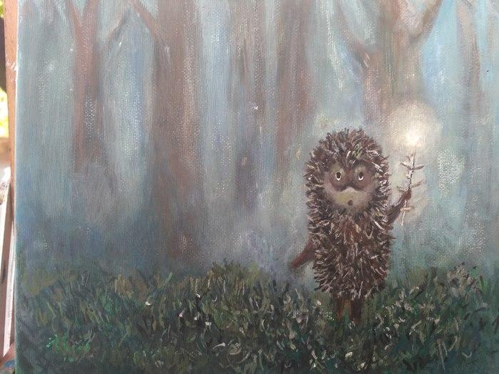Ёжик в тумане акварелью :) Копия, Акварель, Ежик в тумане, Рисунок, Мультфильмы, Советские мультфильмы, Сказка