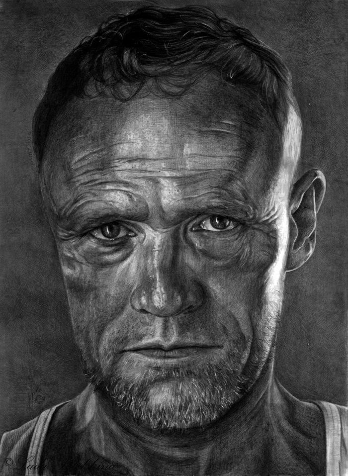 """Портрет простым карандашом. """"Мерл Диксон"""" Портрет, Рисунок, Майкл Рукер, Мерл Диксон, Ходячие мертвецы, Графика, Знаменитости, Актеры"""