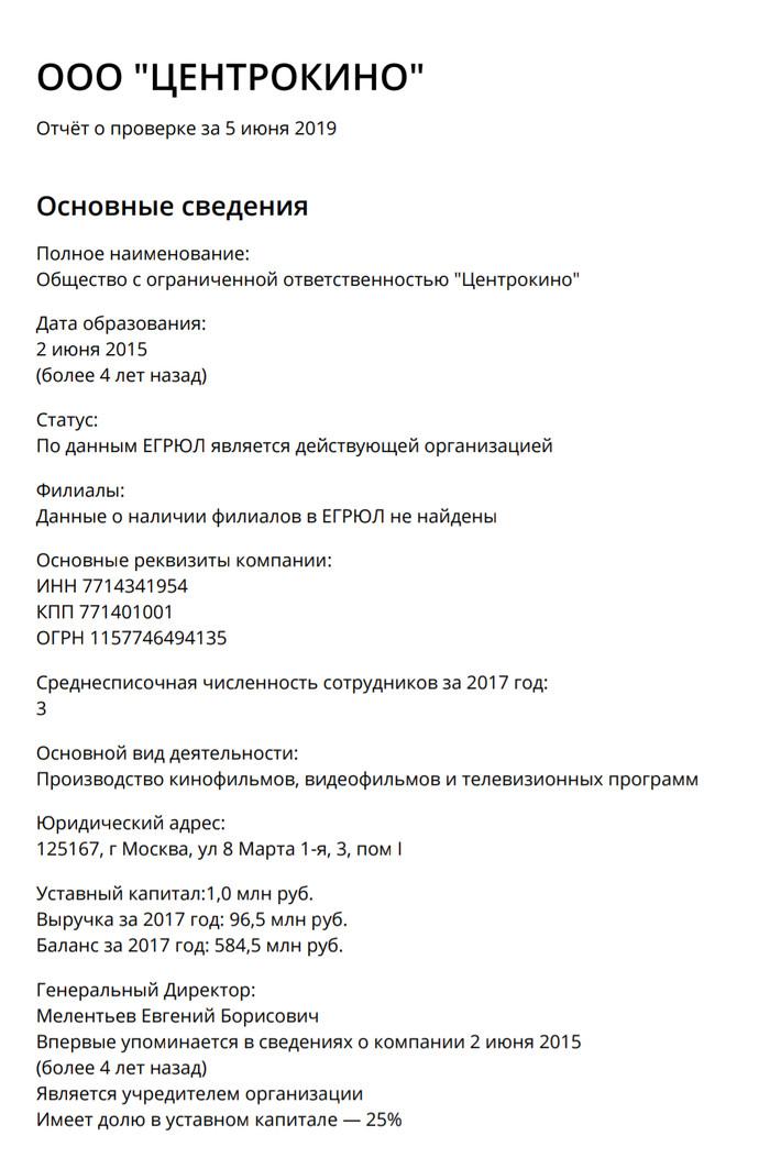 У компании Kinodanz нашли связь с сенатором от КБР Российское кино, Kinodanz, Связи, Badcomedian, Длиннопост