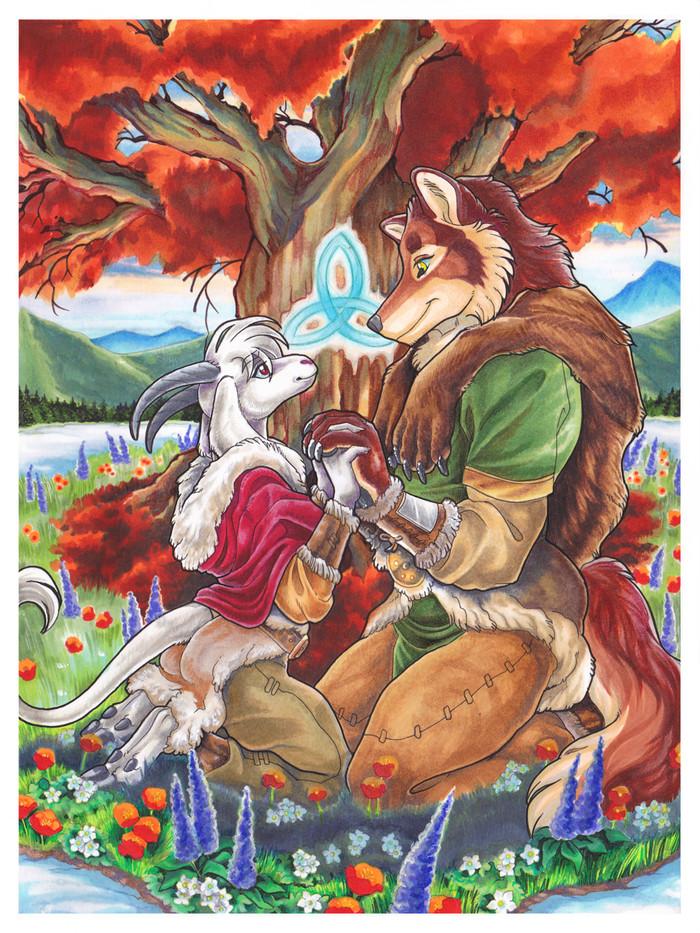 Friendship Through The Seasons Фурри, Арт, Wielder, Природа, Традиционный арт, Романтика
