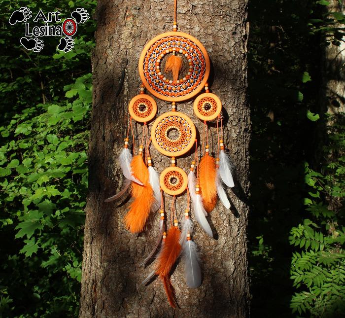 """Ловец снов """"Апельсин"""", 76 см Рукоделие без процесса, Рукоделие, Индейцы, Оберег, Длиннопост, Ловец снов"""