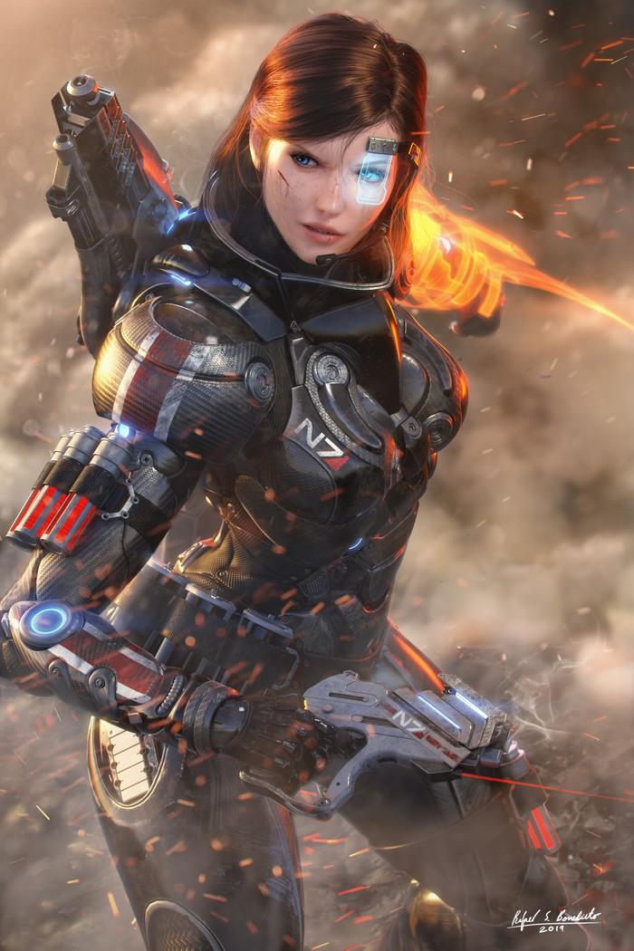 Commander Shepard. Арт, Картинки, Длиннопост, Mass Effect, Rafael Benedicto, Femshep