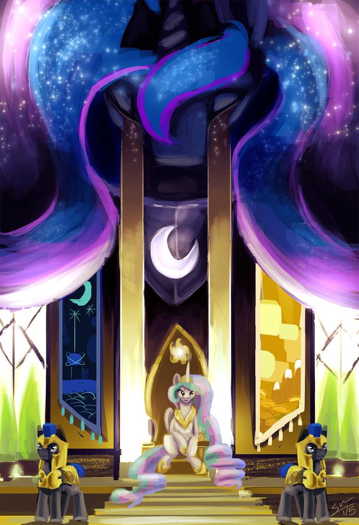 Falling Stars My Little Pony, Princess Luna, Princess Celestia, Royal Guard, Blindcoyote