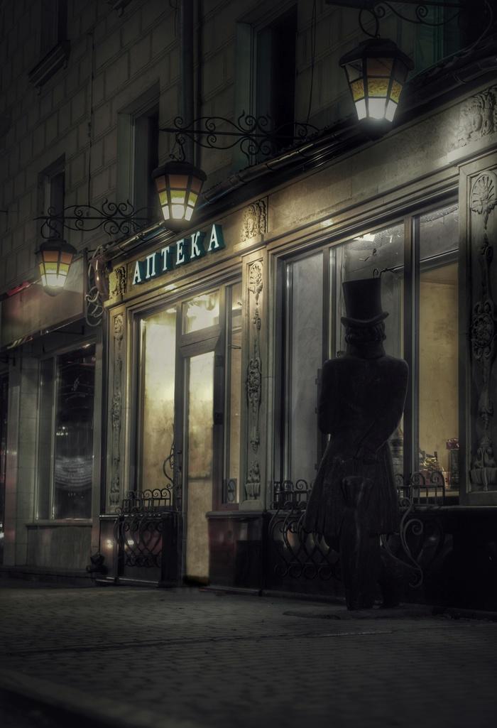 Ночь, улица, фонарь, аптека Фотография, Улица, Аптека, Барнаул, Ночь