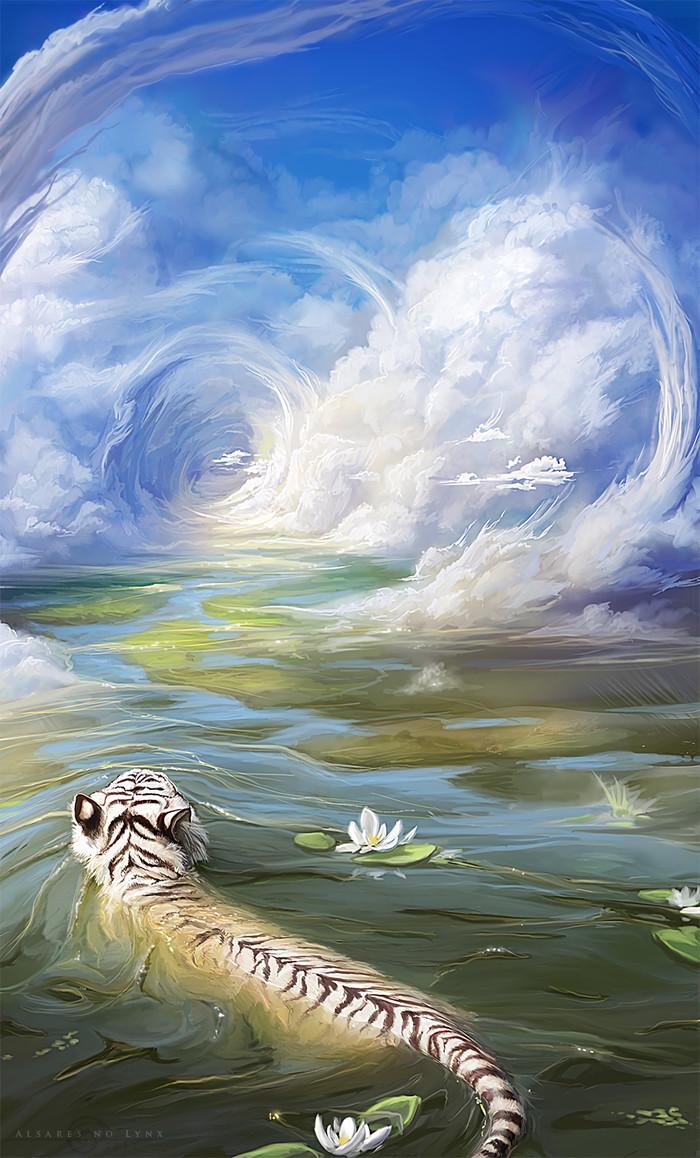 River color of the sun Арт, Рисунок, Животные, Тигр, Тигр белый, Вода, Облака, Alsares