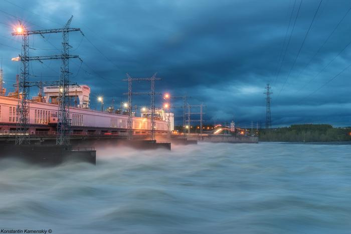 Вода! ГЭС, Река, Ночь, Пермь, Пейзаж, Фотография, Красота, Кама