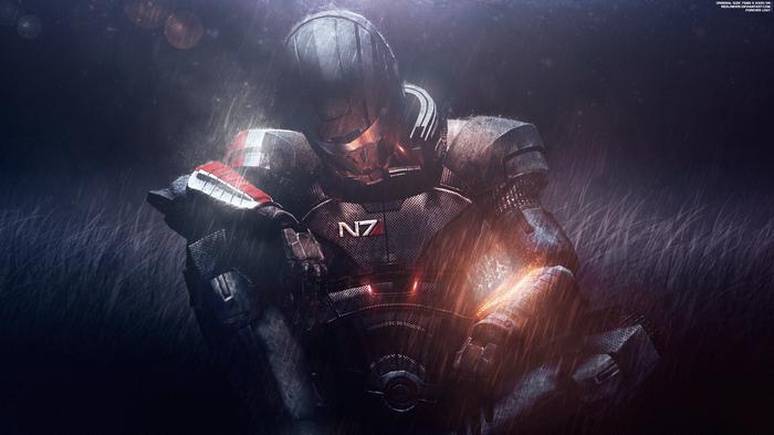 """Потерян навсегда"" - Mass Effect Шепард Mass Effect, Shepard, Галактика, Шепард, Дождь, Обои на рабочий стол"