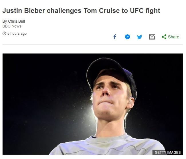 Джастин Бибер вызвал на бой в октагон Тома Круза Том Круз, Джастин Бибер, UFC, Поединок, Конор МакГрегор, Длиннопост