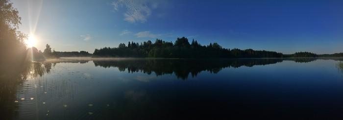 Панорама озера С чего начинается утро, Озеро, Панорама, Туман, Рассвет