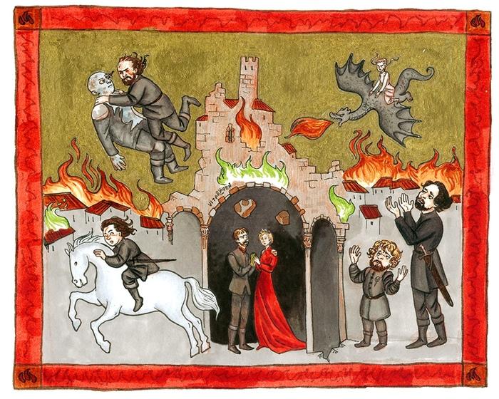 Страдающий Вестерос: финальная битва Игра престолов, Средневековье, Арт, Пятничный тег моё, Иллюстрации, Прикол, Страдающее средневековье, Юмор