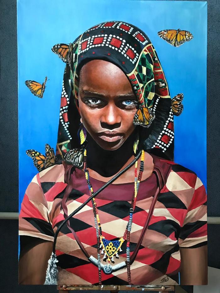 Китана Портрет, Картина маслом, Живопись, Artstudiovb, Объёмная картина, Длиннопост, Картина, Девушки, Негритянка