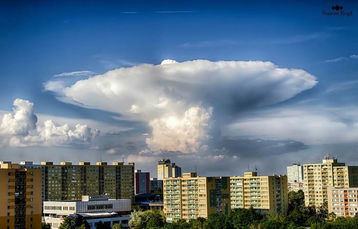 Кучево-дождевое облачко Чехия, Природа, Прага, Облака