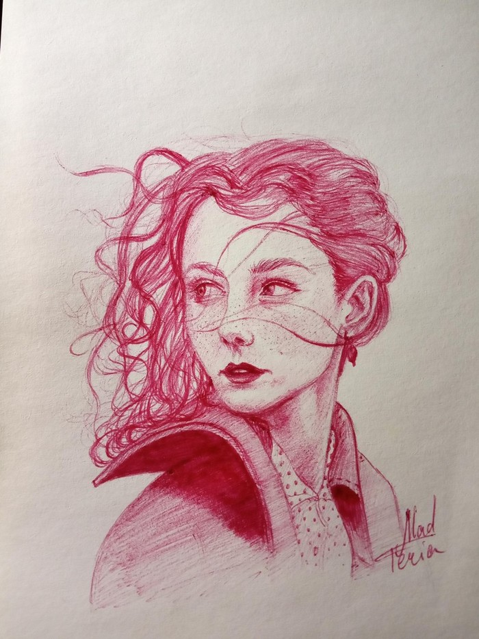 Ручка Традиционный арт, Рисунок ручкой, Рисунок, Графика, Портрет, Девушки, Красивая девушка