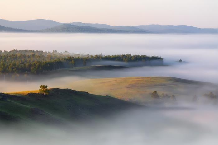 Утра вам! Утро, Рассвет, Туман, Пейзаж, Урал, Россия