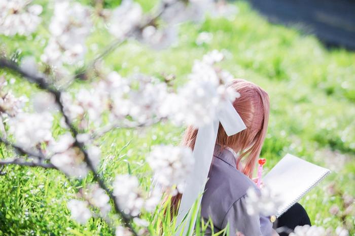 Моника под сакурой Косплей, Doki Doki Literature Club, Визуальная новелла, Monika, Девушки, Сакура, Длиннопост