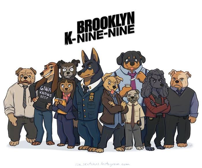 Бруклин К99 Бруклин 9-9, Сериалы, Арт, Isasketches, Собакофикация