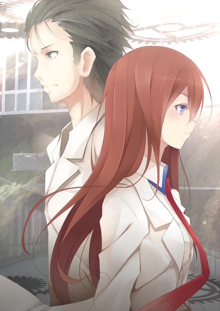 At the crossway of time Steins Gate, Kurisu Makise, Okabe Rintaro, Anime Art, Аниме, Визуальная новелла